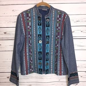 Chicos embroidered open front denim jacket